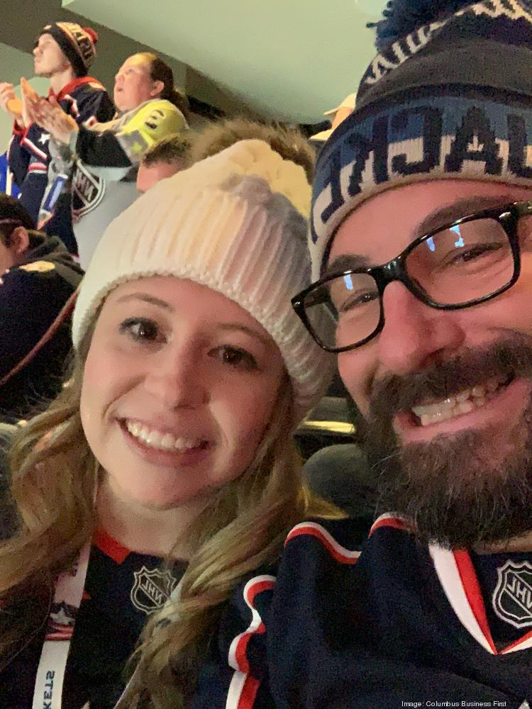 Mara, me and the Blue Jackets lid that I tossed to celebrate a hat trick that night.